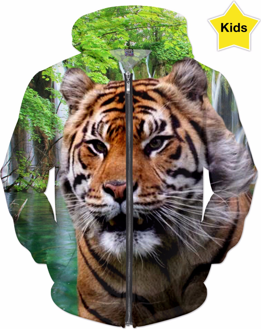 Tiger and Waterfall Kids Hoodie