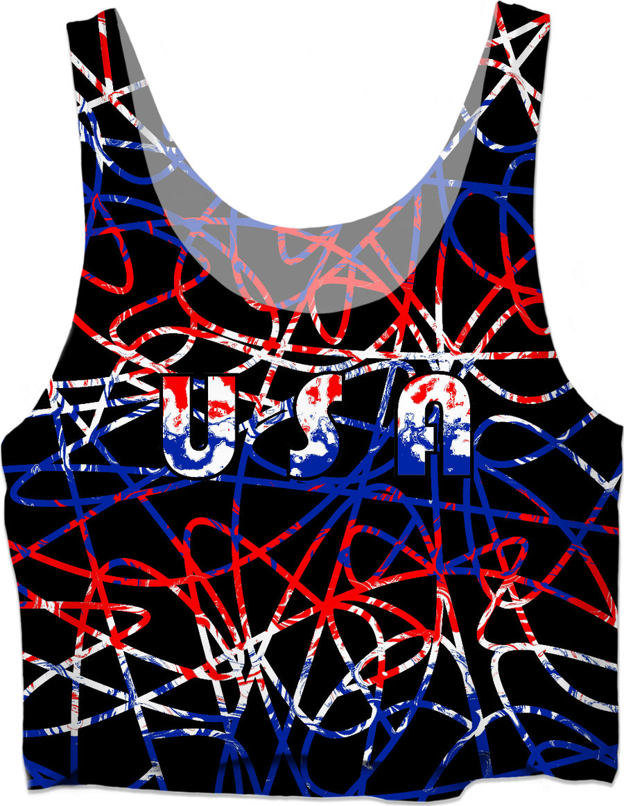 USA On Abstract Crop Top