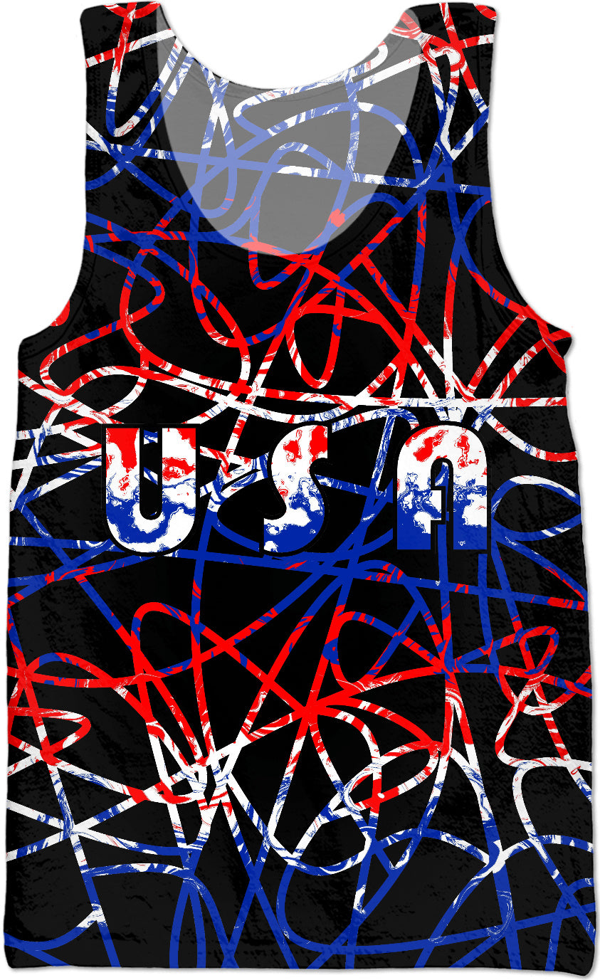 USA On Absract Tank Top