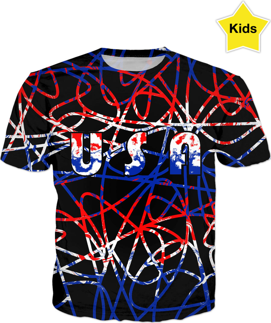 USA On Abstract Kids T-Shirt