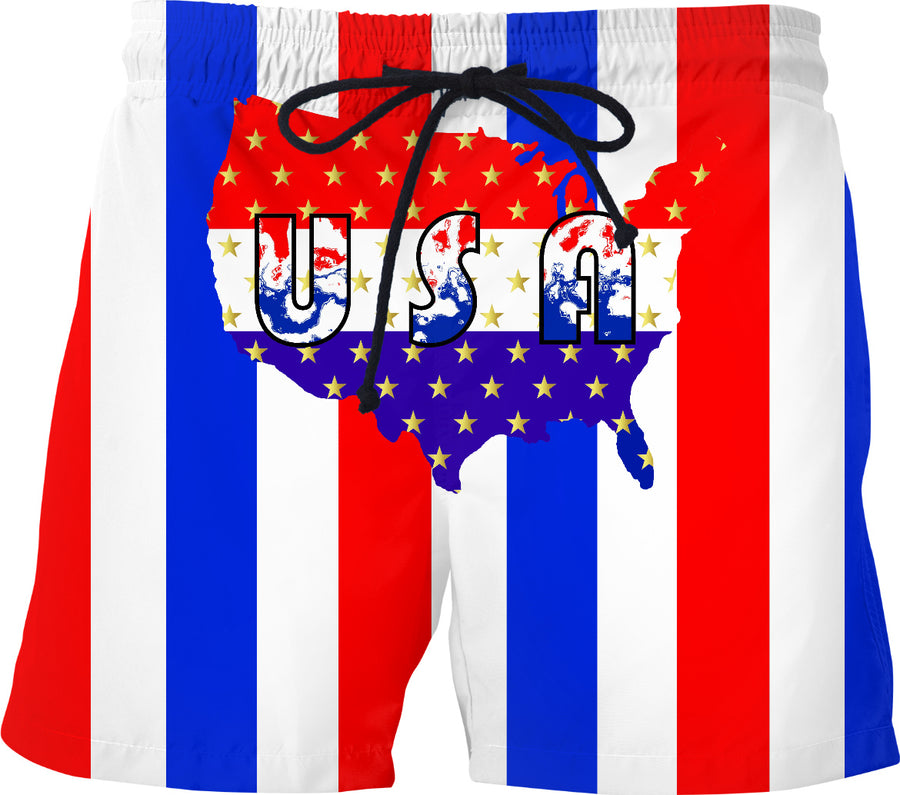 Patriotic Red White And Blue USA Swim Shorts