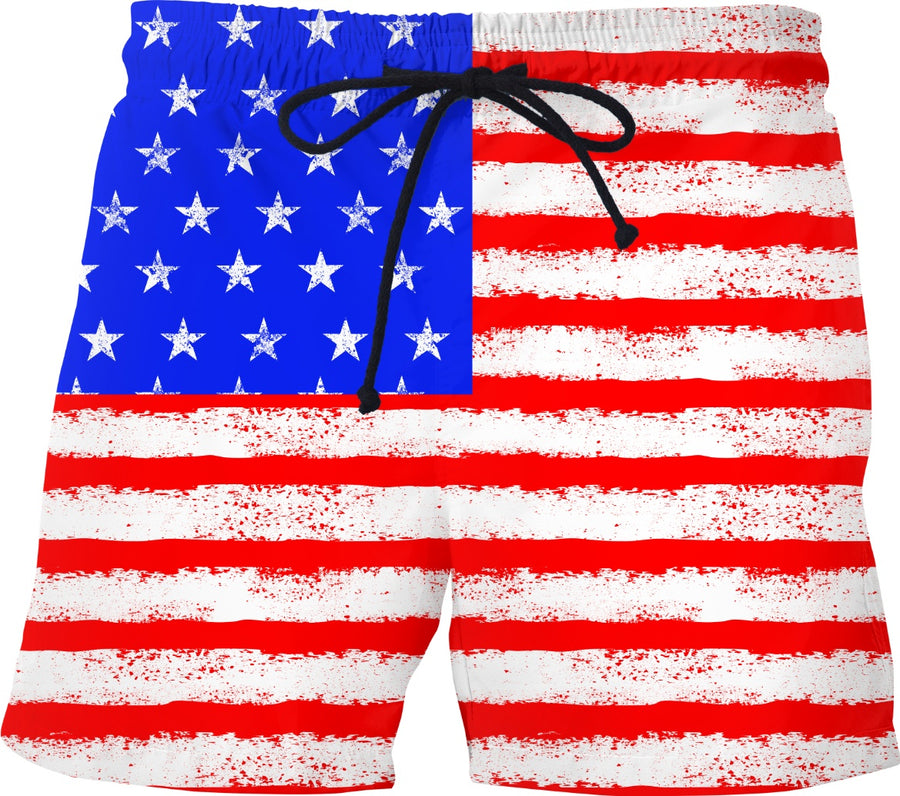 distressed american flag swim trunks