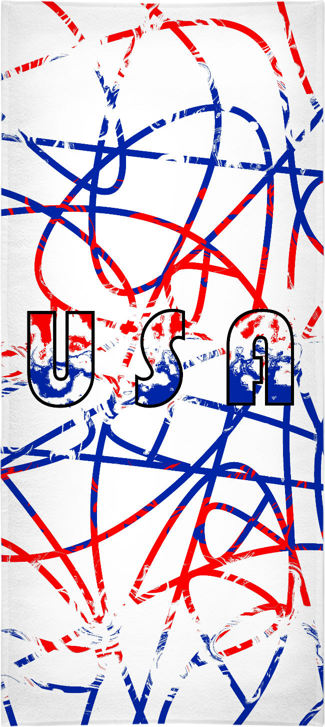 USA Scribble On White Beach Towel