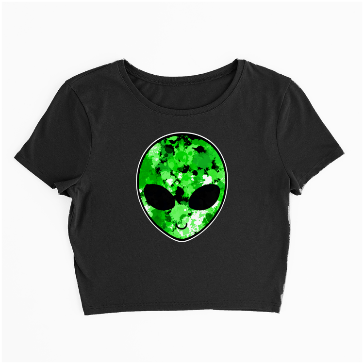 Green Alien Head Crop Tee