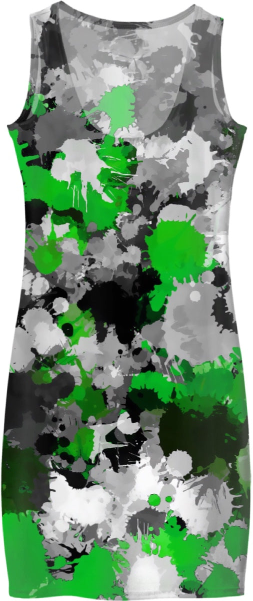 Green and Grey Paint Splatter Bodycon Dress