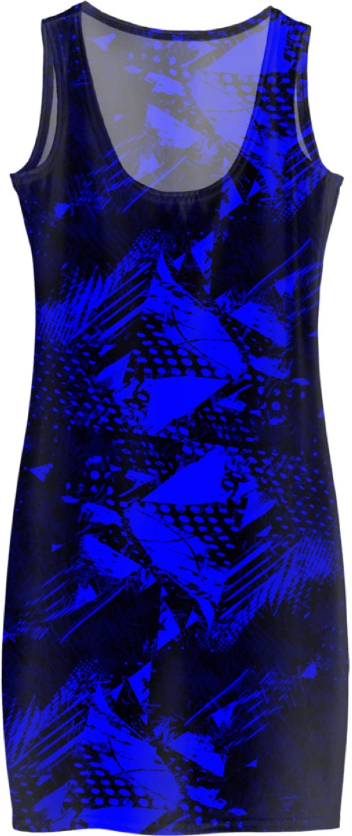 Blue and Black Abstract Bodycon Dress