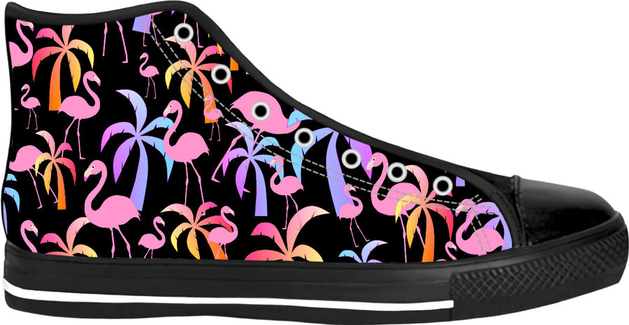 Tropical Palm Trees Black High Tops