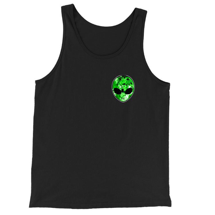 Green Alien Head Chest Logo Tank Top