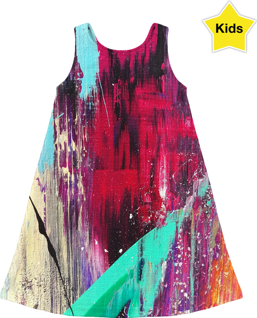 Future Fuchsia Abstract Kids Dress