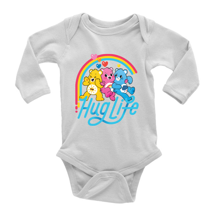 Care Bears Hug Life Long Sleeve Baby Onesie