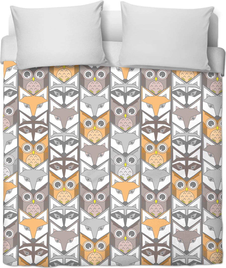neutral colored woodland critters chevron