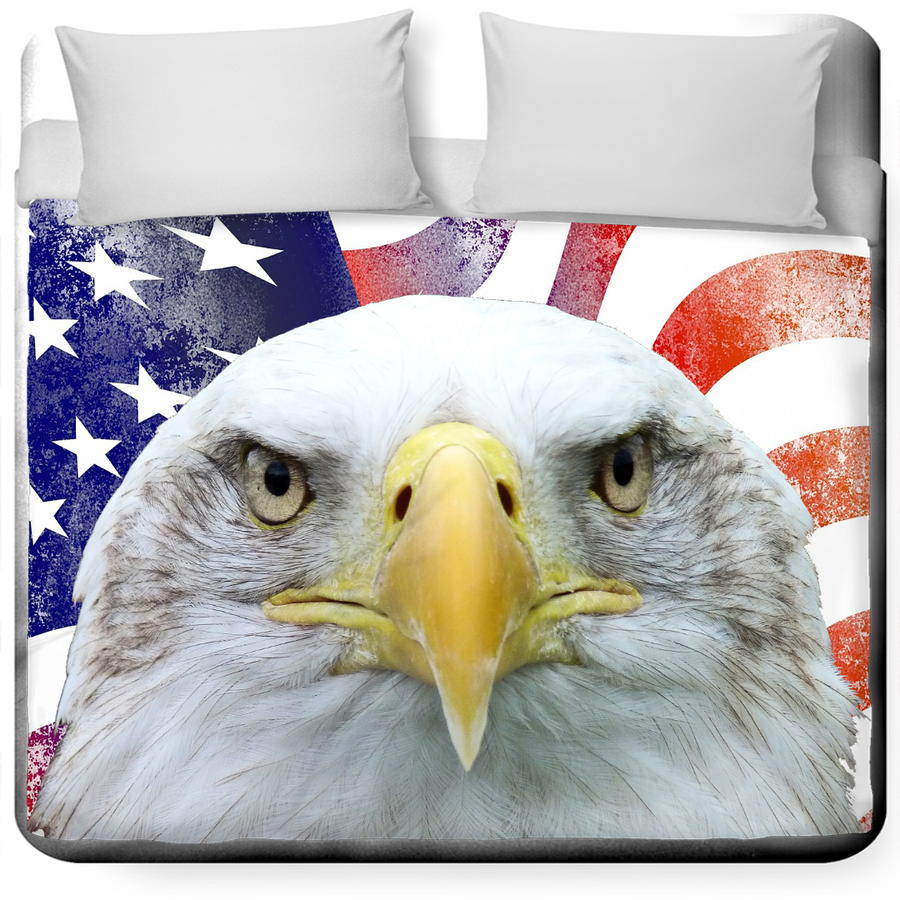 American Flag and Bald Eagle Twin Duvet Cover