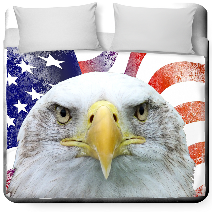 American Flag and Bald Eagle King Duvet Cover