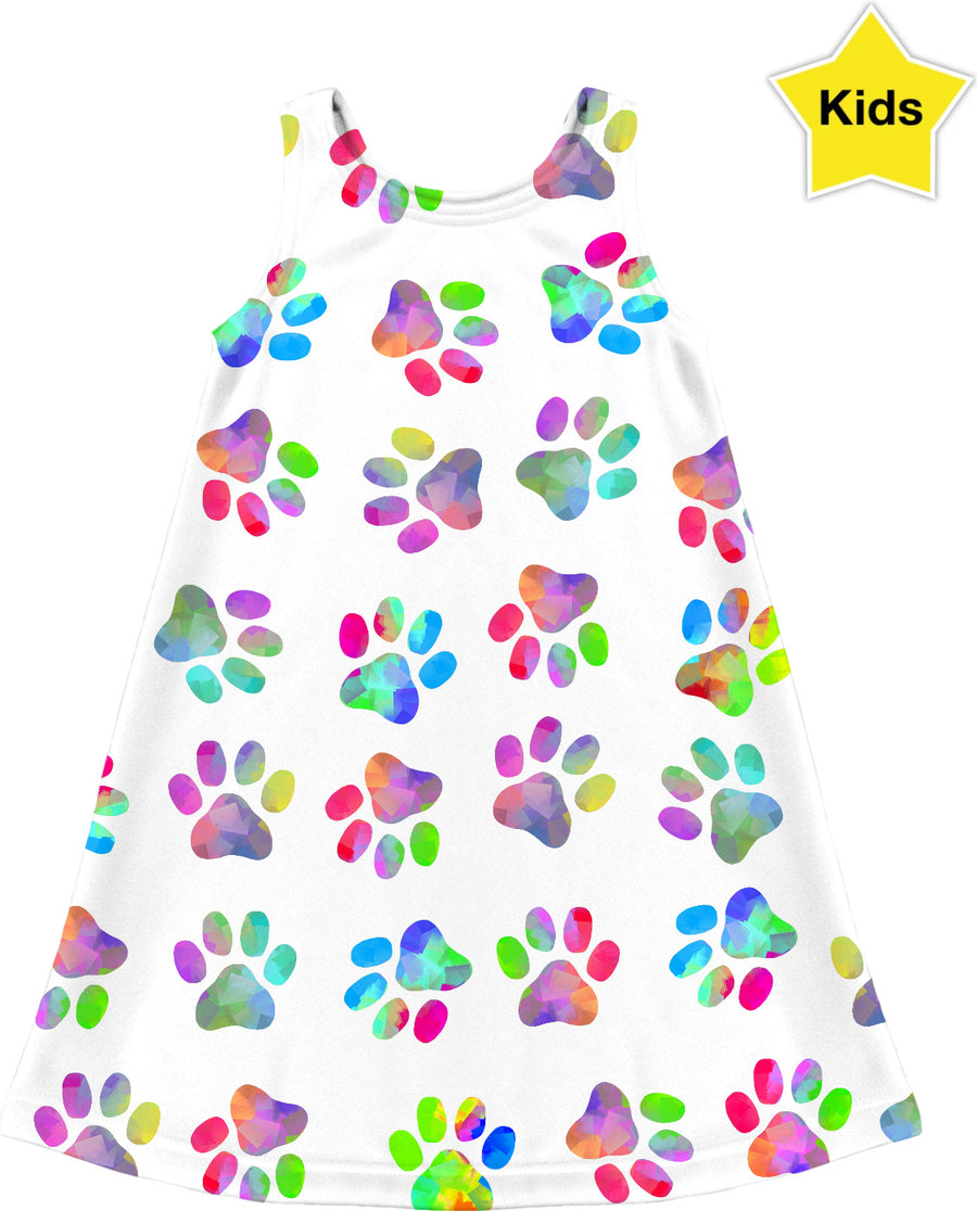 Puppy Paw Print Kids Dress