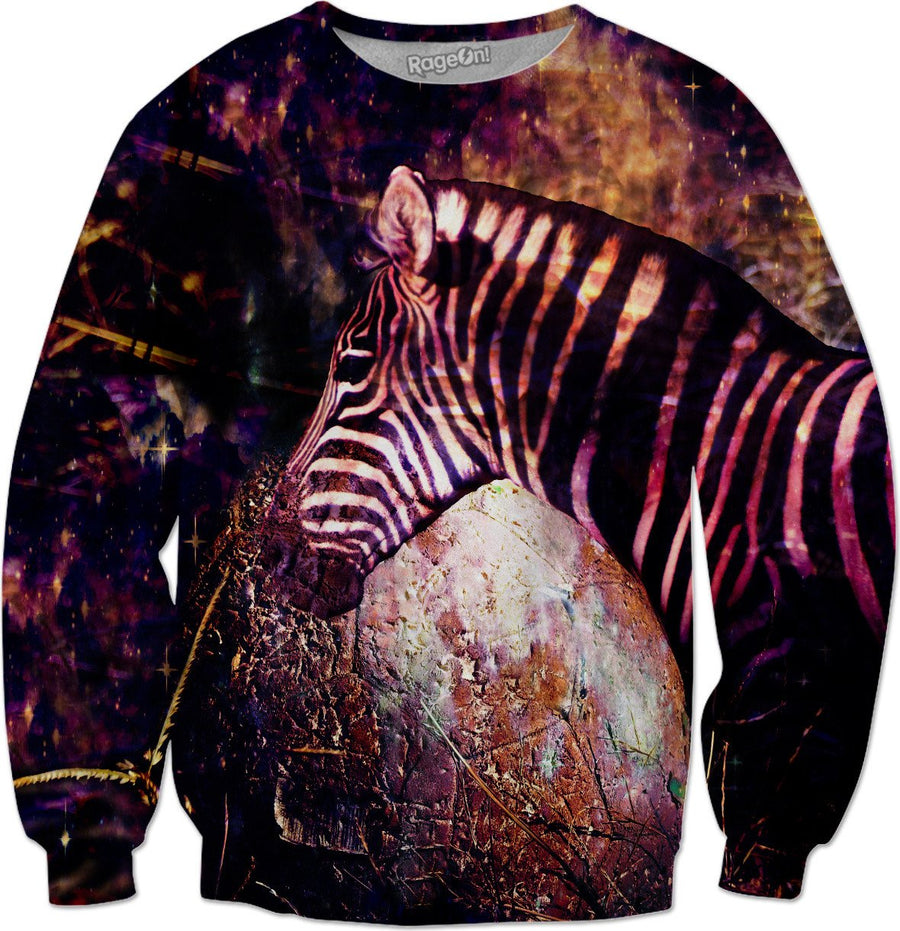 Celestial Zebra of the Equidae Eclipse - Space Galaxy Sweatshirt - DistortionArt