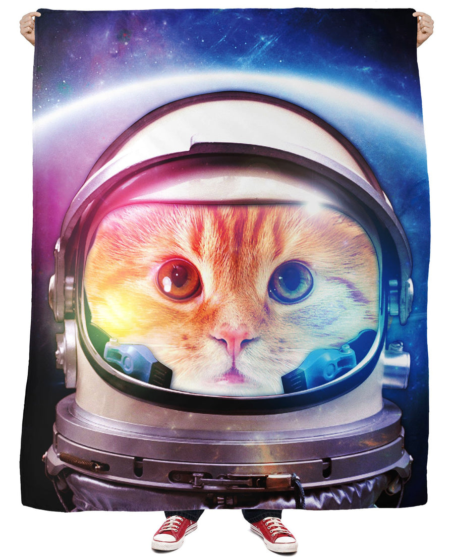 Space Cat Fleece Blanket