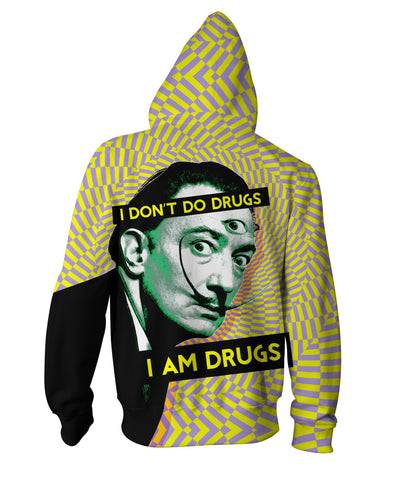Salvador Dali on Drugs Zip-Up Hoodie