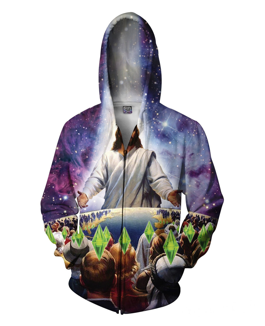 Jesus Died For Your Sims Zip-Up Hoodie