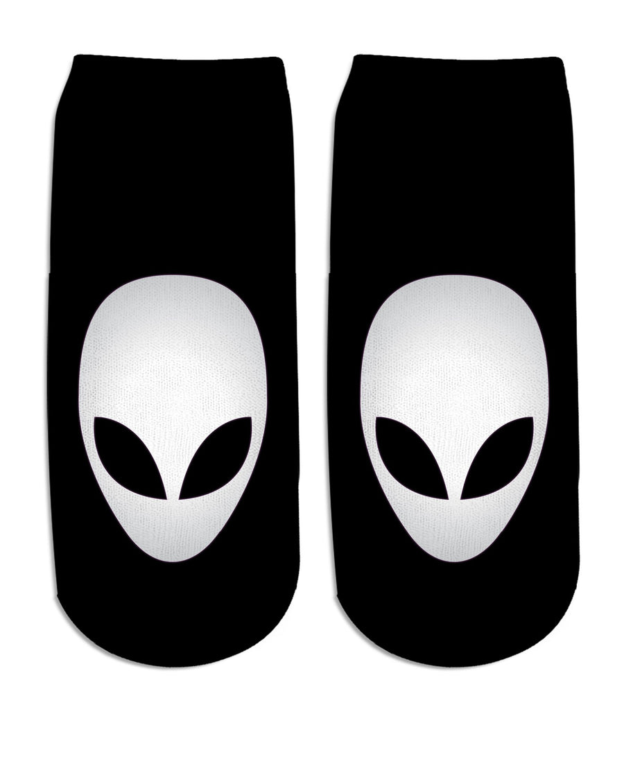 Alien Head Black and White Ankle Socks