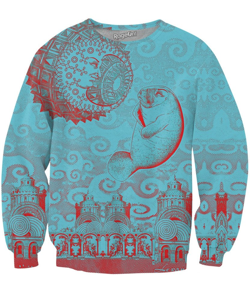 Moon and Manatee Crewneck Sweatshirt