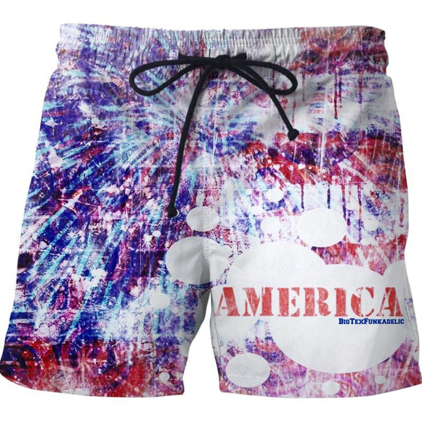 BigTexFunkadelic Distressed America Swim Shorts