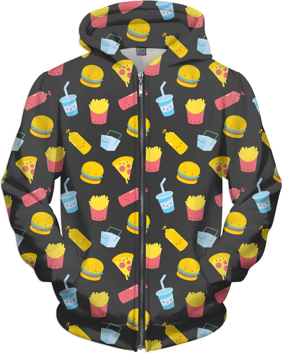 Junk Food Pattern Gray Zip-Up Hoodie
