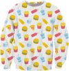 Junk Food Pattern White Sweatshirt