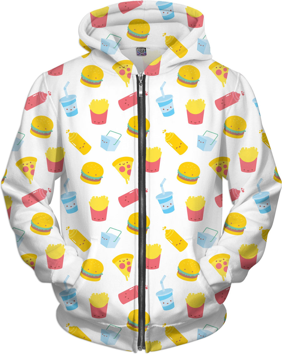 Junk Food Pattern White Zip-Up Hoodie