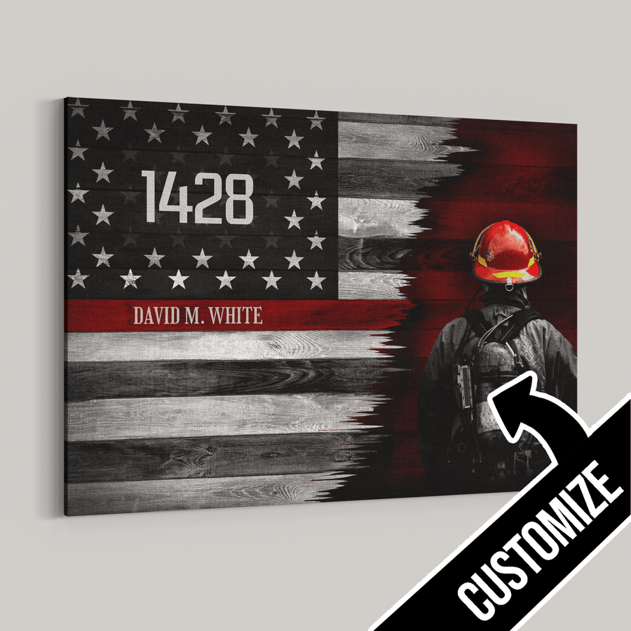 Thin Red Line Personalized Canvas