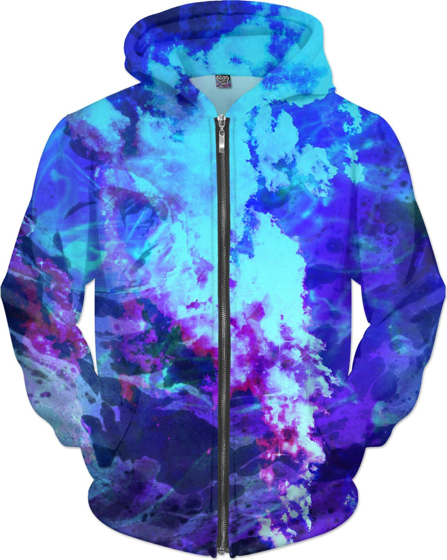 Misty Eyes of Tranquility - Blue Purple Cloud Smoke Hoodie - DistortionArt
