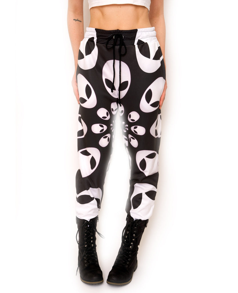 Alien Head Black and White Sweatpants