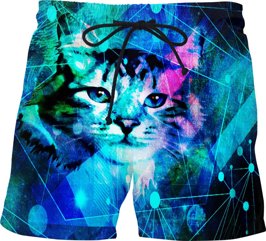 Kitty Cat Laser Lights at the Aleurorave Swim Shorts - DistortionArt