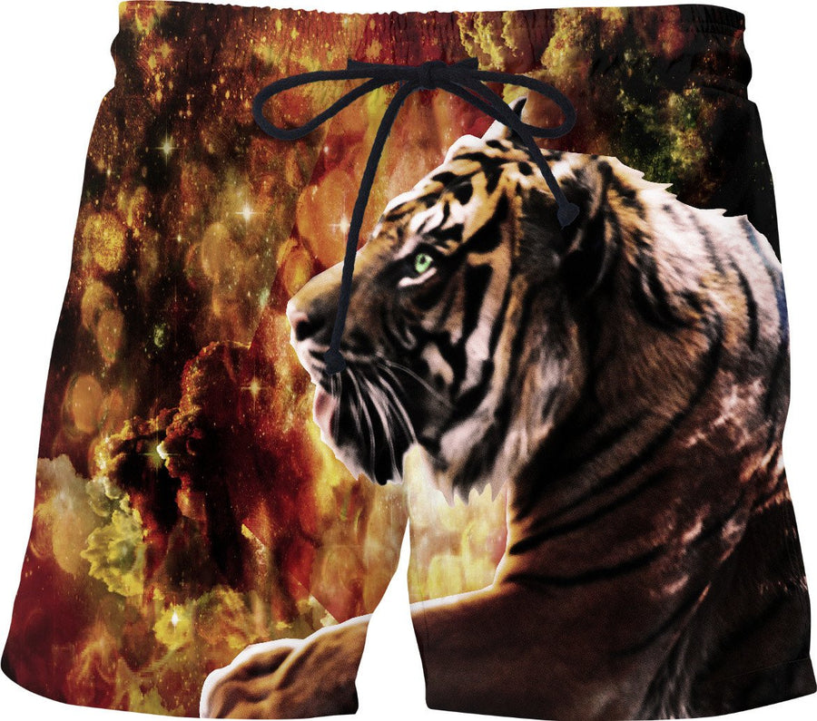 Tiger Stroll Through the Glittery Galaxy Ravine Swim Shorts - DistortionArt