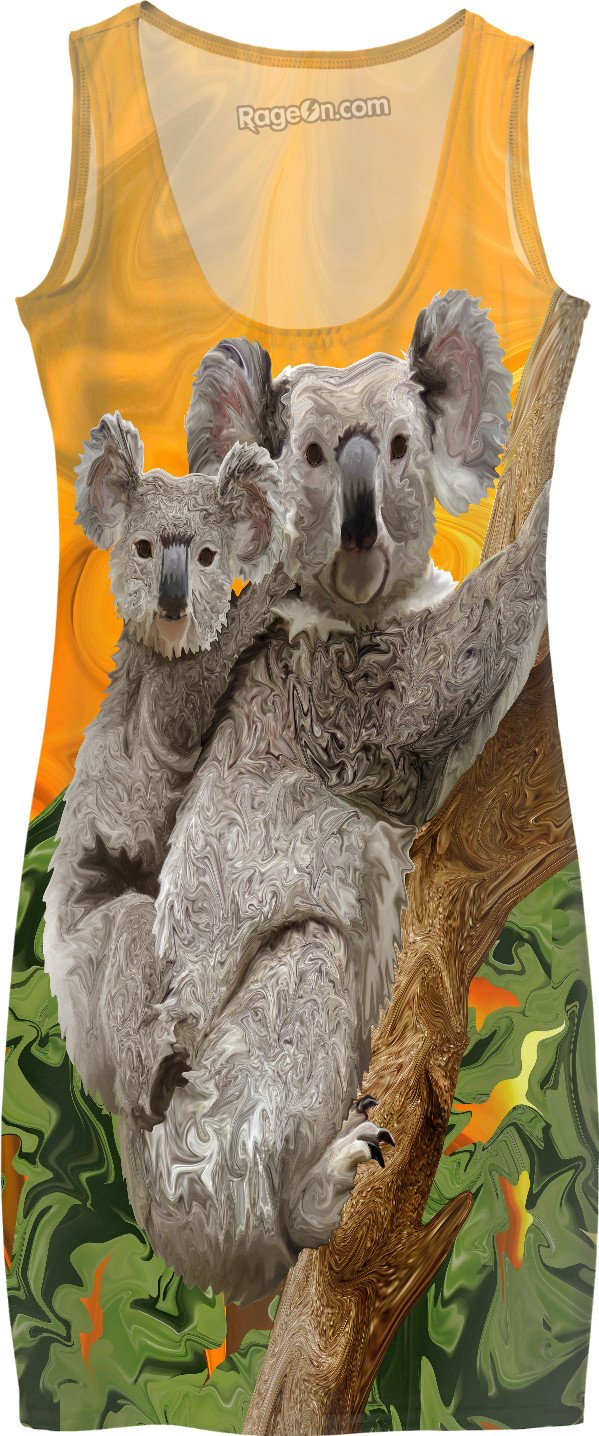 Koala Bear Sunset Dress - DistortionArt