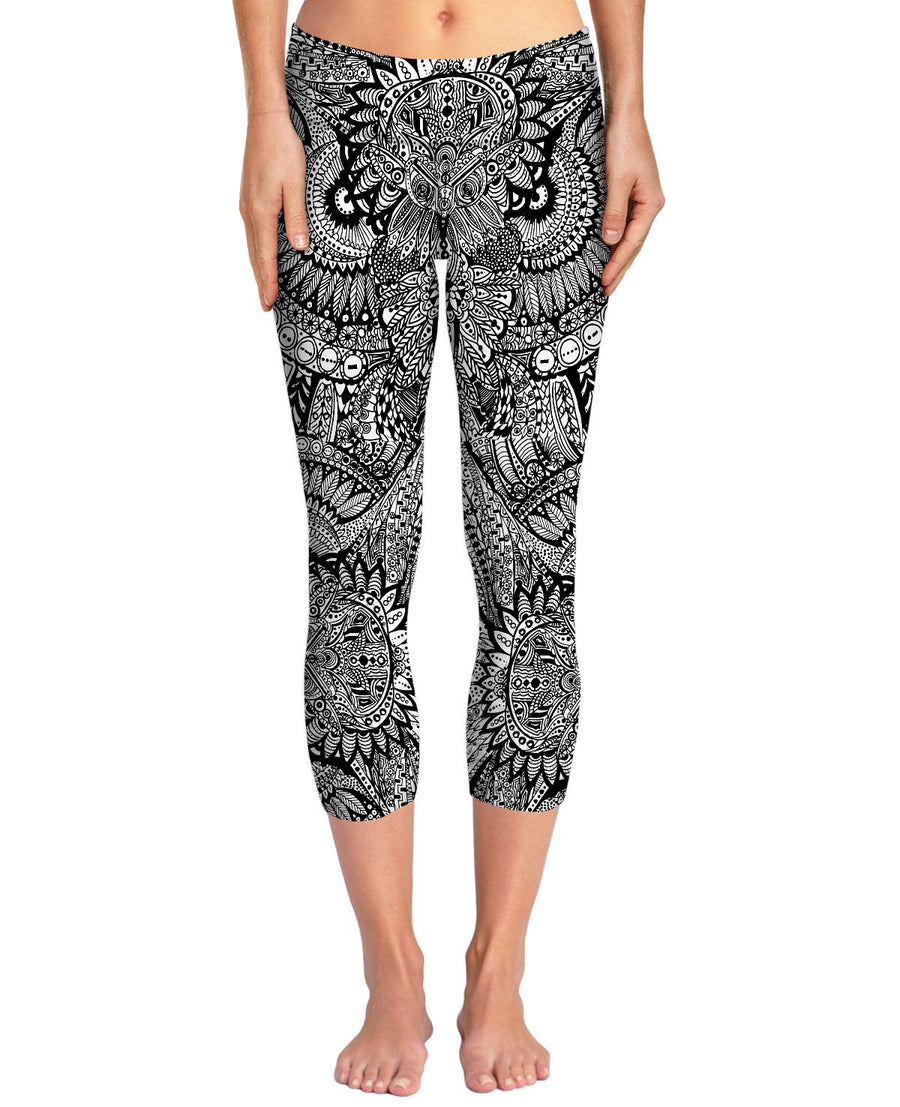 Inked Owl Line Art Yoga Pants