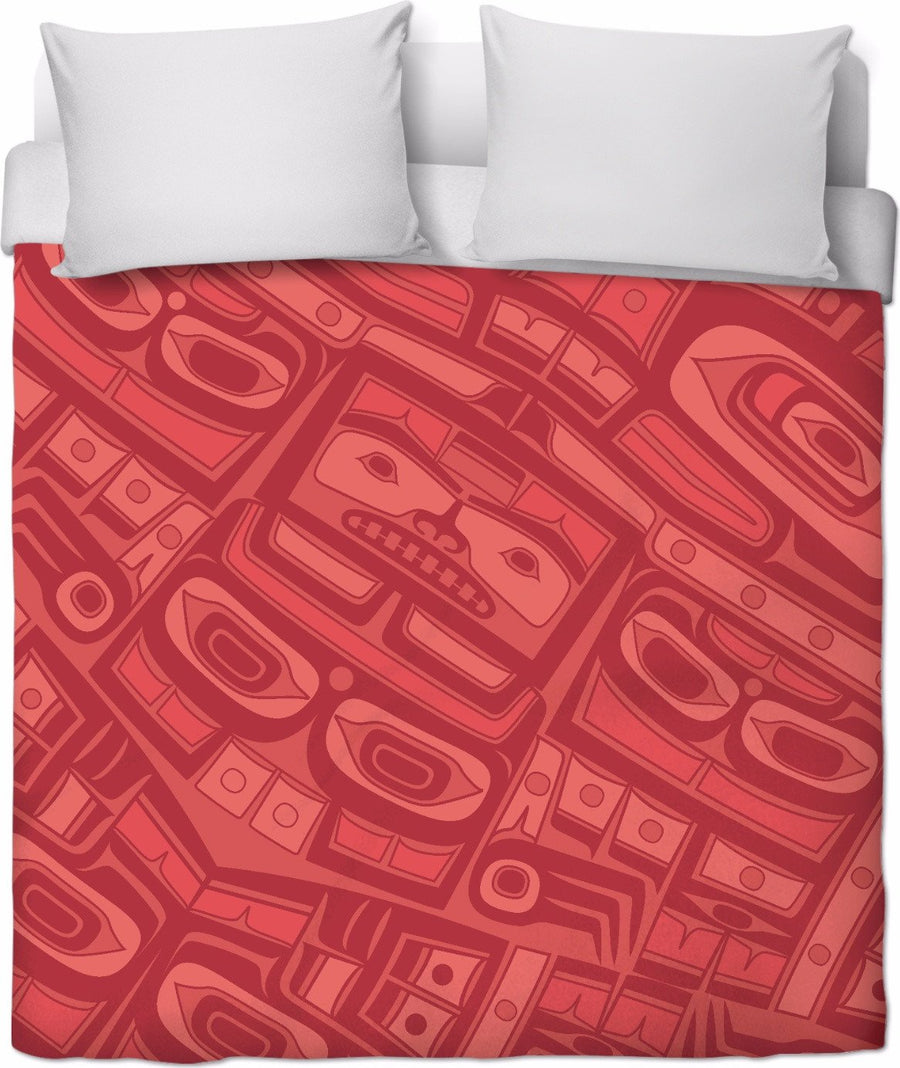 Coral red Chilkat Duvet
