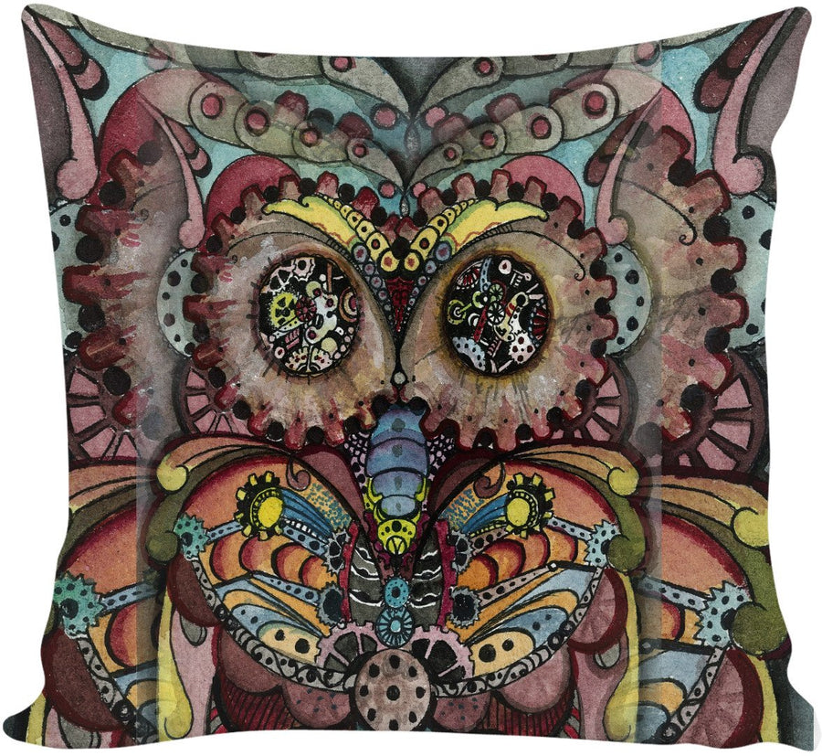 Steampunk Owl Couch Pillow