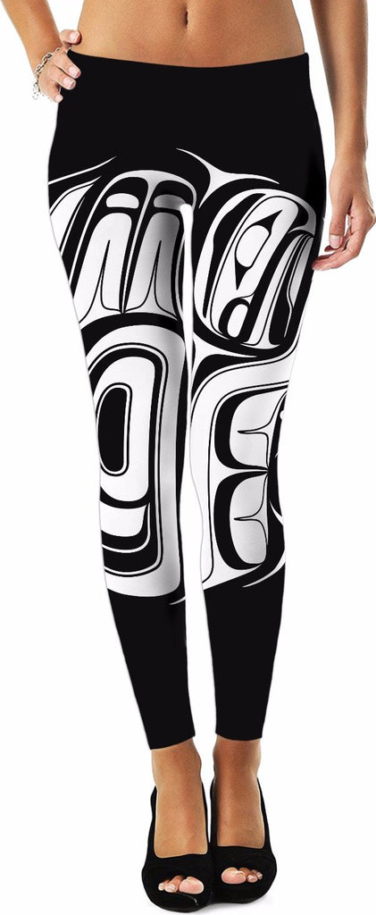 White On Black Two Eagle Drummer Leggins