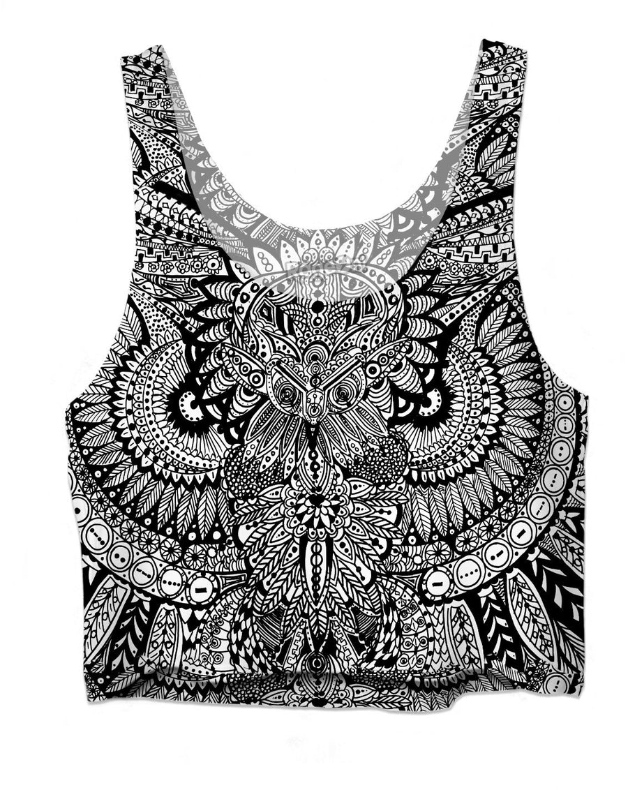 Inked Owl Line Art Crop Top