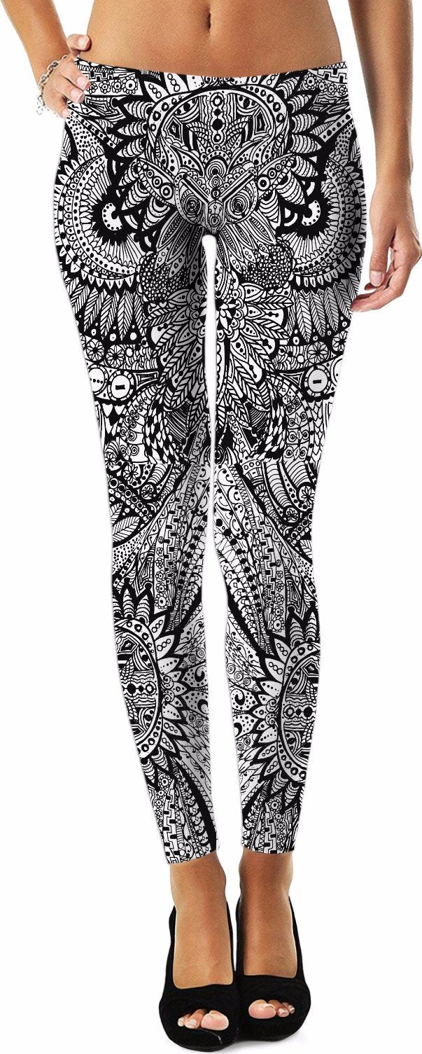 Inked Henna Owl Art Yoga Pants - Leggings - Mat - Pillow