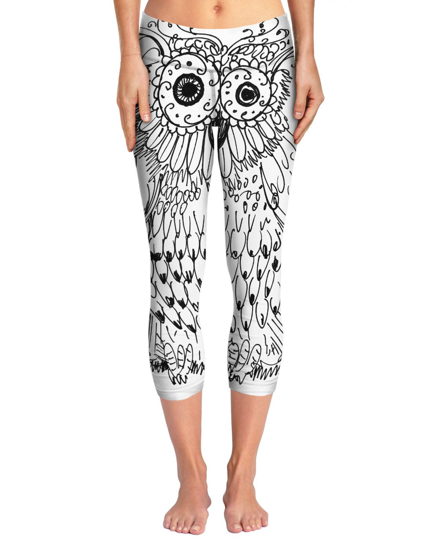 Meowl Sketch Yoga Pants by FleshandColor