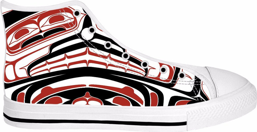 Two Eagle High top shoe (white and red)