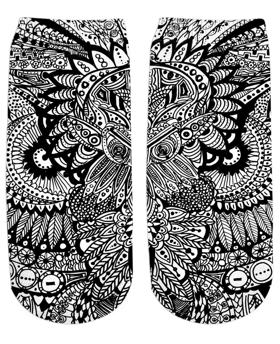 Inked Owl Line Art Ankle Socks