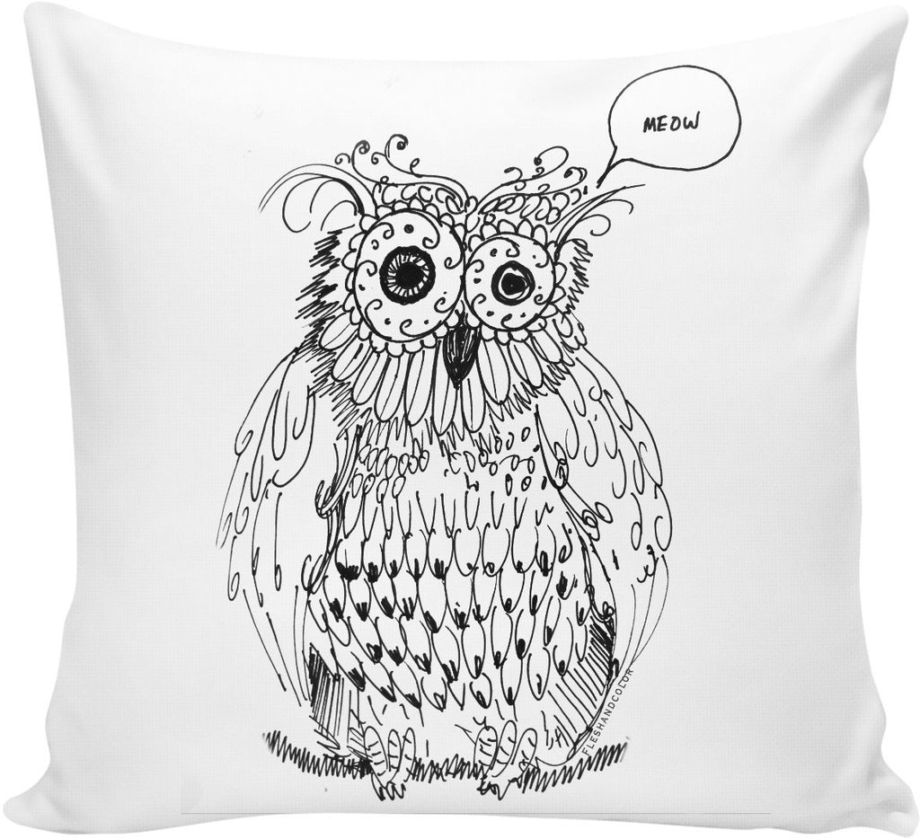 Meowl Sketch Couch Pillow by Fleshandcolor