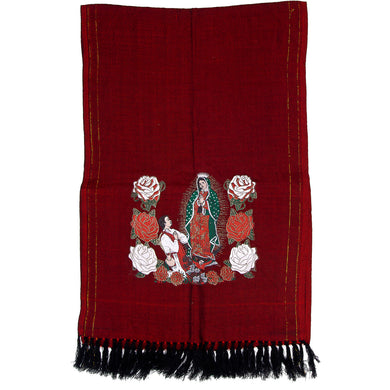 Virgin Mary Mexican Shawl (Rebozo) imp-73421-red