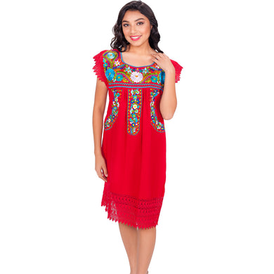 Embroidered Artisan Cotton Dress imp-77138