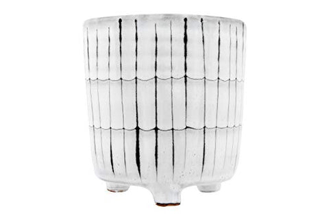 Creative Co-Op White &Amp; Black Terracotta Footed Planter White