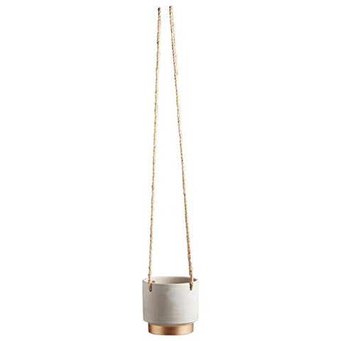 Rivet Modern Stoneware Hanging Planter With Rope, 5.5 H, Grey With Electroplated Gold Finish