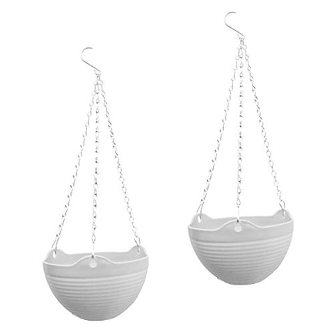 Yikush Hanging Flower Planter Pots With Chain For Indoor Outdoor Home Decoration - 7.87X7.87X5.1Inch, White