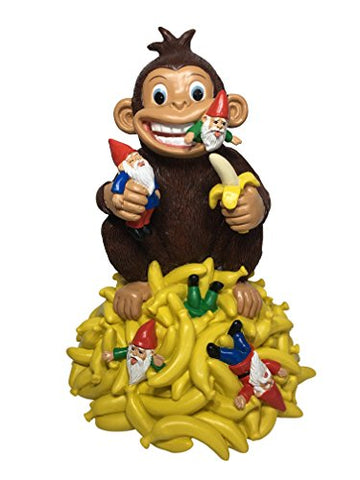 Glitzglam Gnomes &Amp; Bananas: Miniature Monkey With Bananas And Gnomes - 11 Tall Garden Gnome Figurine For The Miniature Garden